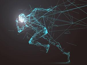 A wireframe person running