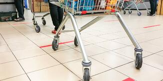 Shopping trolley in a socially distanced retail store layout